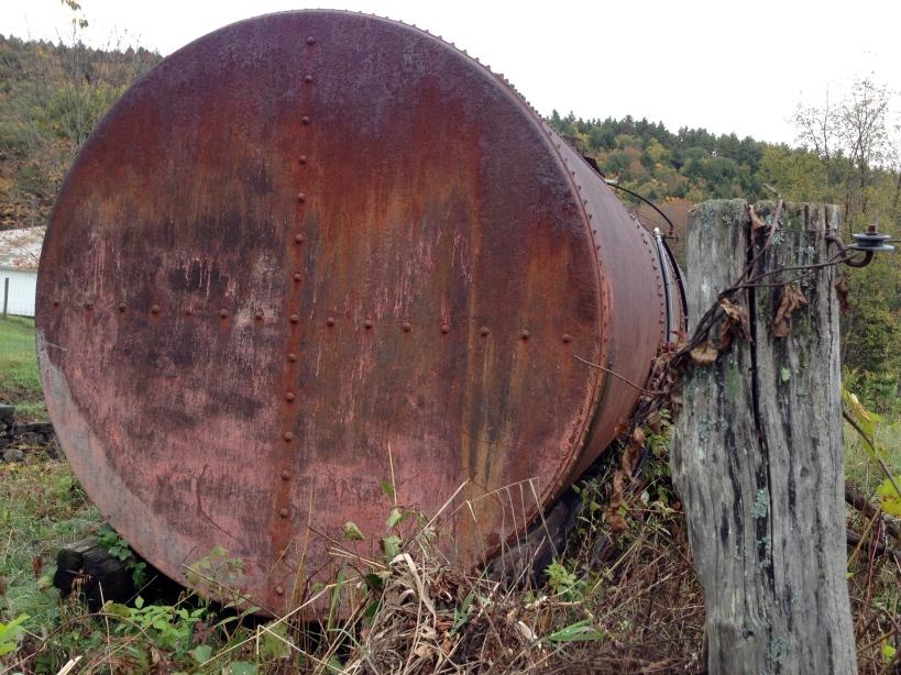 big rusty steel tank